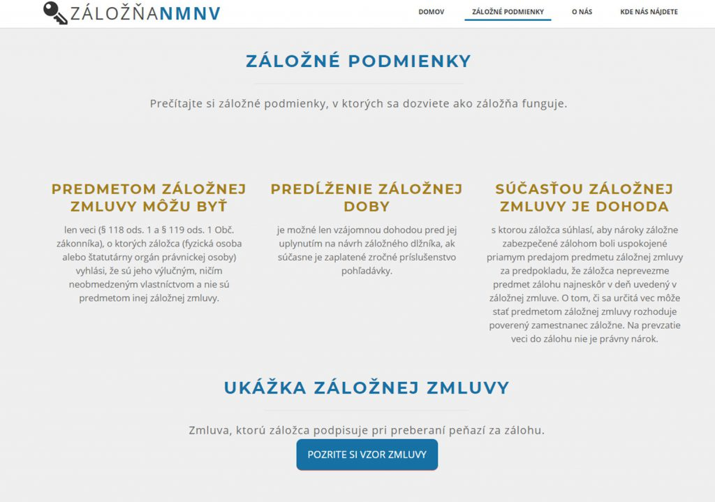 web záložňa nmnv